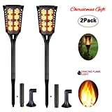 Solar Flame Light, Gemwon Upgarded Outdoor Landscape Decoration Path Lighting Dusk to Dawn Auto On/Off with Realistic Flames Wall Light for Walkway Garden Patio Deck Yard Driveway----Pack of 2