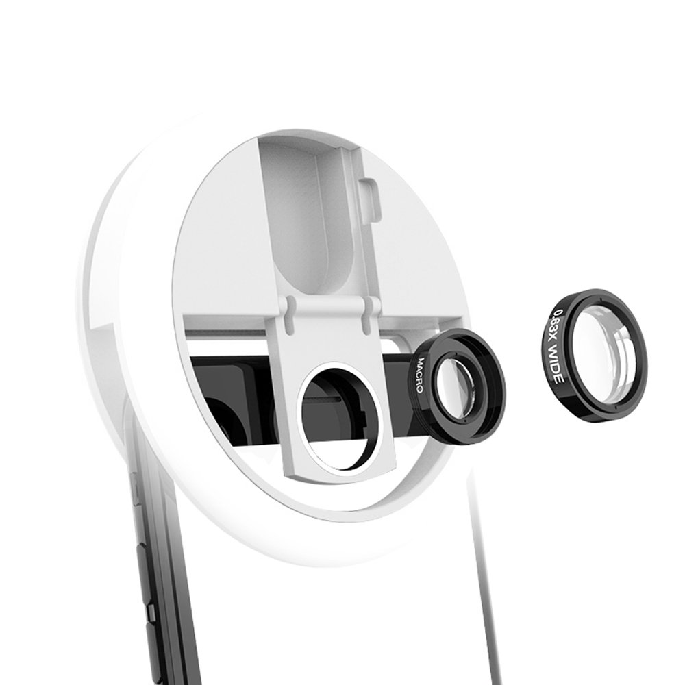 Selfie Ring Light with Wide Angle Lens USB Rechargeable 3 Light Models 36 LED Bulbs Flash Lamp for Android Phone IPhone IPad Laptop Clip Ring Light White