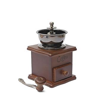 OULII Manual del grano de café mano molino especias hierbas estilo Vintage Burr Retro madera molino café máquina grano molino - regalo para los amantes: ...