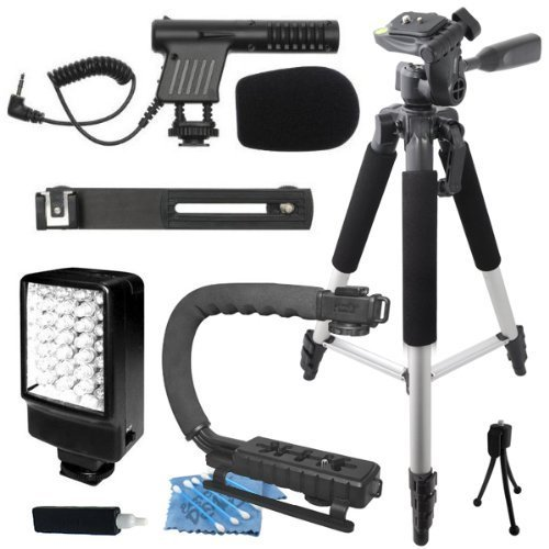 "Professional 57"" Tripod + Deluxe LED Video Light + Mini Condenser DSLR Camcorder Microphone + Camera Camcorder Action Stabilizing Handle Everything You Need Video Kit for Panasonic Lumix DMC-G2 DMC-G3 DMC-G5 DMC-G6 DMC-G10 DMC-GF2 DMC-GF3 DMC-GF5 DMC-GF6 DMC-GH2 DMC-GH3 DMC-GM1 DMC-GX1 DMC-GX7 - Lumix Camcorders"