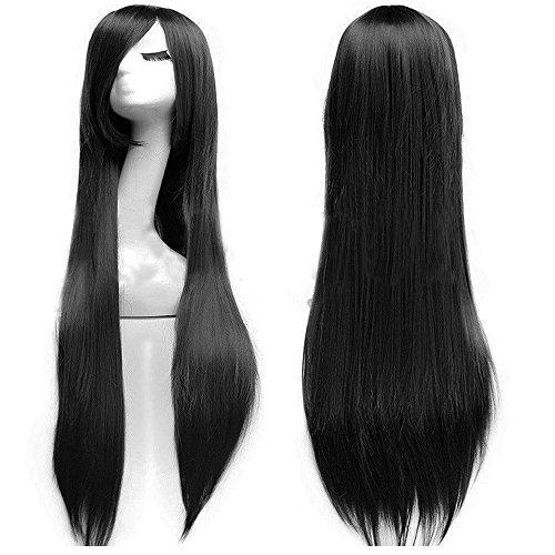 2-5 Days Delivery Unisex Japanese Anime Cosplay Wigs Synthetic Long Straight Full Party Costume Wig Layered with Bangs and Cap Halloween Wigs for Women Men Girl Boy Teens (40