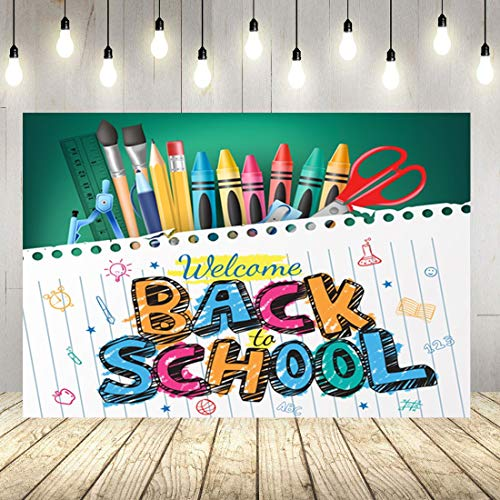 DLERGT 7X5ft Back to School Backdrop Blackboard Notebook Photography Background Vinyl Pencil Back to School Themed Party Banner Decoration Backdrops lyy6193-10122651 (Best Back To School Laptop)