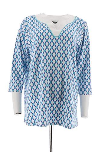 Susan Graver Printed Cotton Modal Split Neck Top A275229, Blue Turquoise, 1X
