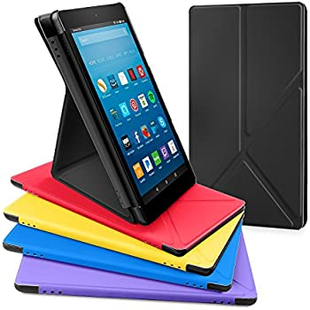 All-New Amazon Fire HD 8 Tablet Case, DTTO Slim-Fit Color-Matched Transformable Multi-Angle stand for Amazon Fire HD 8 Case (7th Generation, 2017 Released only) with Auto Sleep/Wake, Black