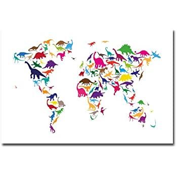 Amazon dinosaur world map by michael tompsett 22x32 inch dinosaur world map by michael tompsett 22x32 inch canvas wall art gumiabroncs Image collections