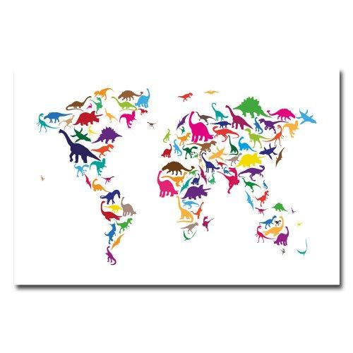 Dinosaur World Map by Michael Tompsett, 16×24-Inch Canvas Wall Art