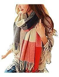 Wander Agio Women's Fashion Long Shawl Big Grid Winter Warm Large Plaid Scarf Orange Red