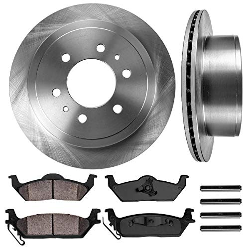 - REAR 348 mm Premium OE 6 Lug [2] Brake Disc Rotors + [4] Ceramic Brake Pads + Clips