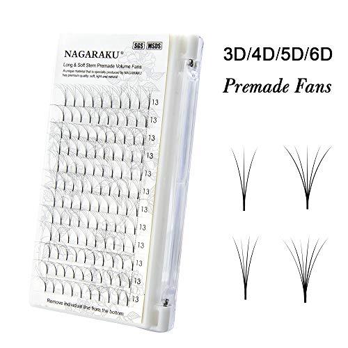 NAGARAKU Eyelash Extensions Russian Volume Premade Fans Soft Natural 5D / 0.07 C 14mm -
