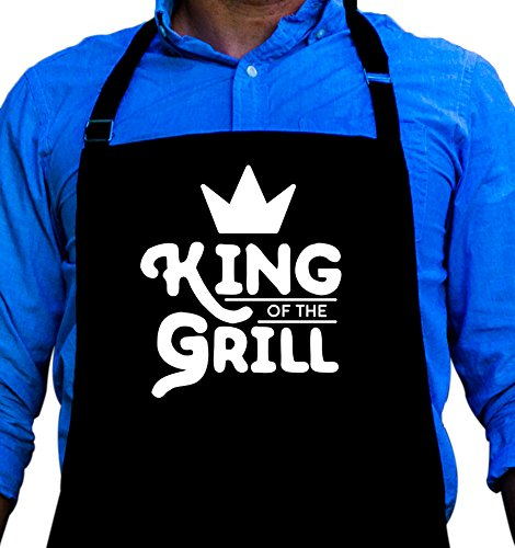 King of the Grill - BBQ Grill Apron - Funny Apron For Dad - 1 Size Fits All Chef Apron High Quality Poly/Cotton 4 Utility Pockets, Adjustable Neck and Extra Long Waist Ties (King Grill Apron)