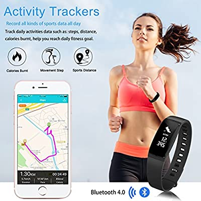 Kirlor Fitness Tracker,Blood Pressure Heart Rate Monitor Waterproof Activity Tracker,Bluetooth Wireless Smart Wristband Bracelet with Replacement Band for Android & iOS