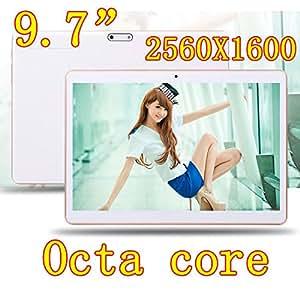 ARBUYSHOP 9,7 pulgadas 8 núcleo Octa Núcleos 2560X1600 IPS DDR RAM 4GB tarjeta sim 16GB 8.0MP 3G dual WCDMA + GSM Tablet PC Tablets PCS Android4.4 7 9, White Version 64G, 64G Añadir teclado
