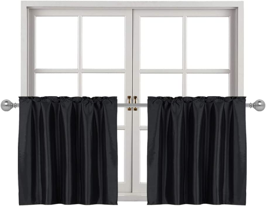 Home Queen Faux Silk Rod Pocket Tier Curtains for Small Window, Short Room Darkening Kitchen Curtains, Café Drapes, 2 Panels, 30 W X 36 L Inch Each, Solid Black