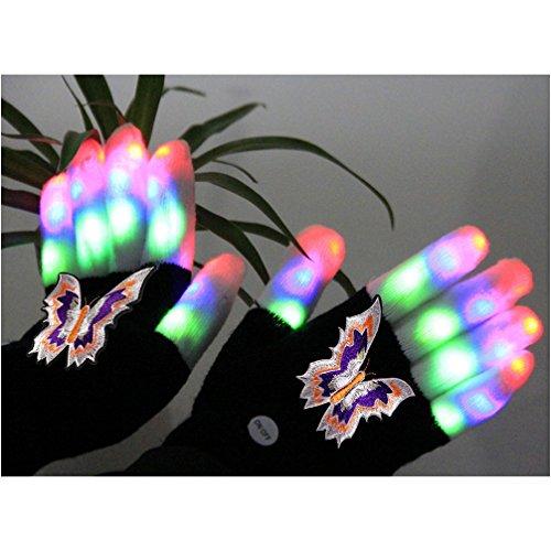 Colorful Flashing Novelty Toys for Kids Luwint Children LED Finger Light Gloves