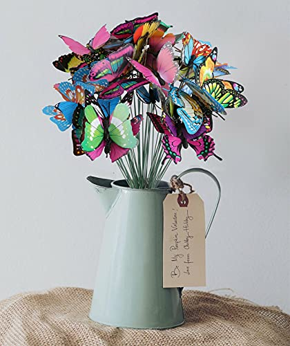 Keepfit Home Garden Decor, Waterproof Colorful Butterfly Stakes, Patio Butterfly Ornaments On Sticks, Outdoor/Yard/Planter/Flower Pot Bed Decor Art 50pcs (B)