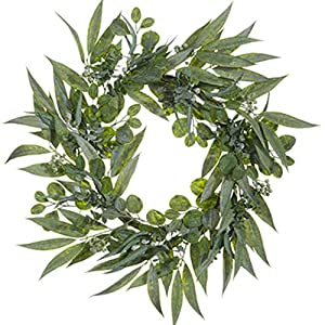 "SilksAreForever 30"" Eucalyptus w/Seed Artificial Hanging Wreath -2 Tone Green (Pack of 2) 60"
