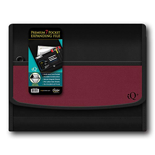 - iQ Plus Premium 7 Pocket Fabric Expanding Folder, 13 x 10 Inches, Color Will Vary (34107)