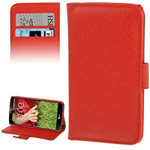 Litchi Texture Leather Case with Holder & Credit Card Slot for LG G2 (Red)