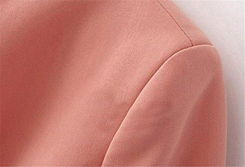 Automne Poches Couleur Des Mode Manches Bureau Hiver Avec Rose Longues Kerlana Veste Pure Femmes Manteau Courte Outwear À Casual De Tops U6CEHqwx