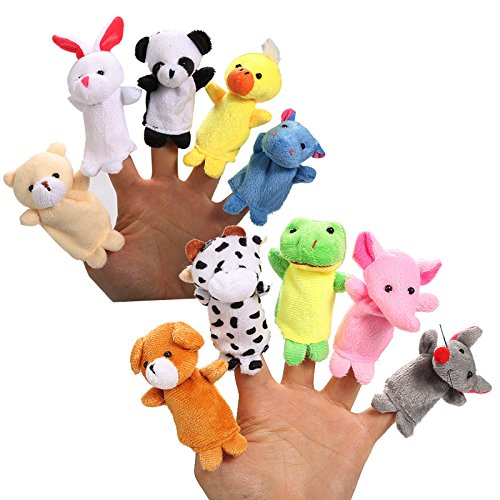 Duck Woodland Plush Animals - 10Pcs Biological Animal Finger Puppet Plush Toys Child Baby Favor Dolls Tell Story Props Cute Cartoon Animal Doll Kids Toys