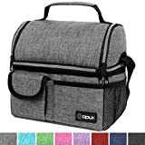 OPUX Insulated Dual Compartment Lunch Bag for Men, Women   Double Deck Reusable Lunch Pail Cooler Bag with Shoulder Strap, Soft Leakproof Liner   Large Lunch Box Tote for Work, School (Heather Grey)