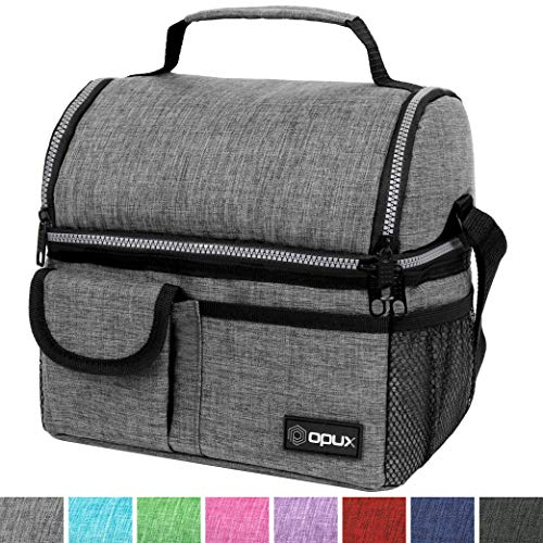Tote Pail - OPUX Deluxe Thermal Insulated Dual Compartment Lunch Bag for Men, Women | Double Deck Reusable Lunch Pail with Shoulder Strap, Soft Leakproof Liner | Lunch Box Tote for School, Work (Heather Gray)