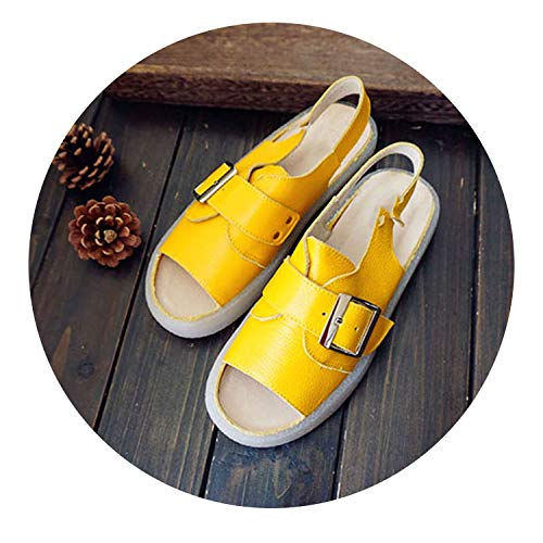 Designer Peep Toe Flat Slingback Genuine Beige Genuine Slingback Leather Strap Platform Yellow Sandals Large B07GDGD5JJ Shoes cc9c57