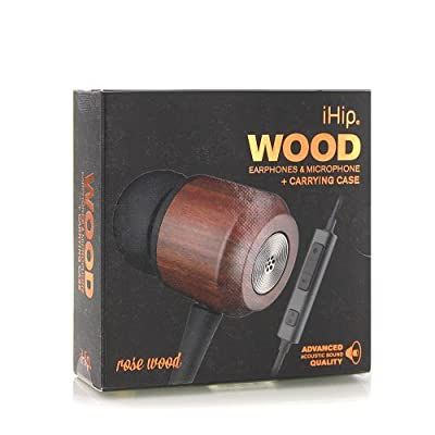iHip Wood Earphones & Microphone + Carrying Case