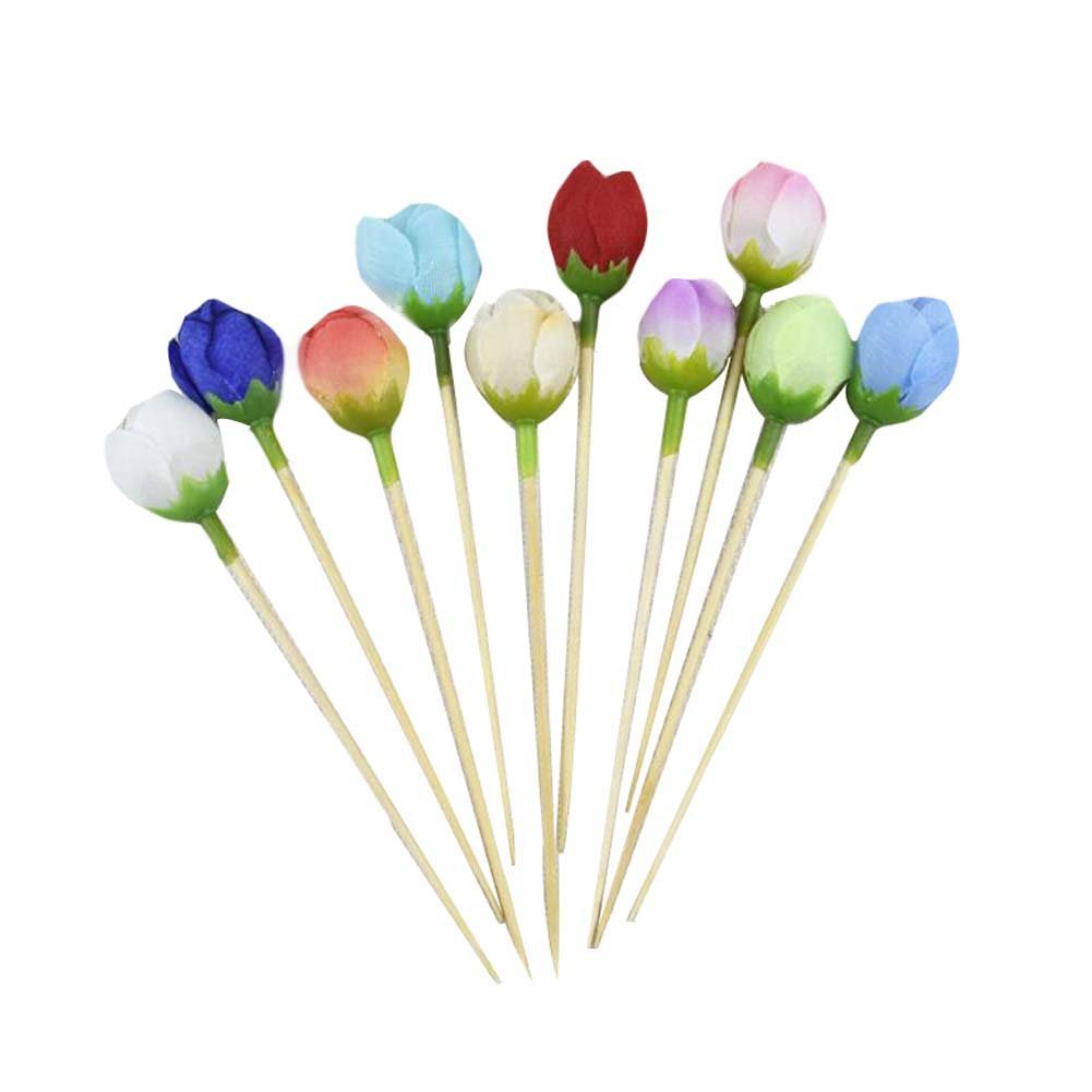 [Rose] 50 Pcs Disposable Wedding Party Supply Bamboo Cocktail Picks Fruit Picks
