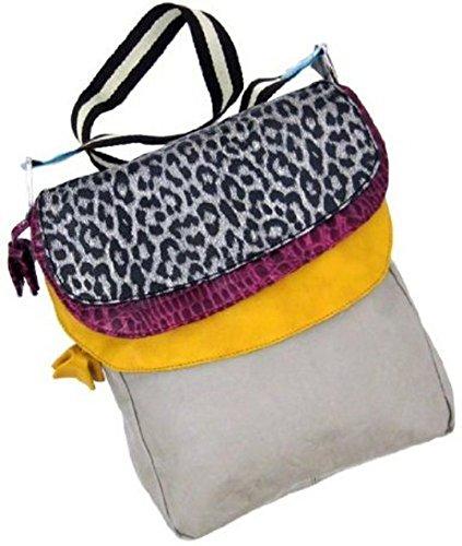 Vinyl Womens Cross Body Bags Tan Messenger Style Handbag Silver Leopard Trim 9.5 X 11 X 4 Inches (Tan Messenger Style Handbag)