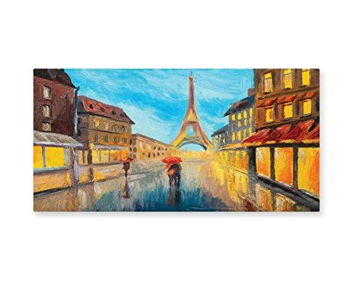 Lunarable Eiffel Tower Wall Art, Couple With Umbrella on Historical Street to Eiffel Tower Paris Art, Gloss Aluminium Modern Metal Artwork for Wall Decor, 23.5 W X 11.6 L Inches, (Paris Themed Party Costume Ideas)