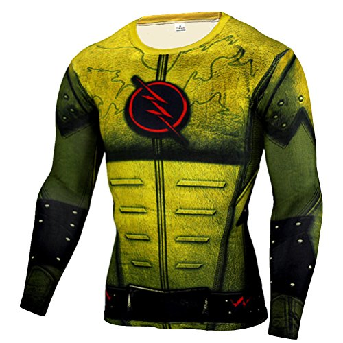 (HOCOOL Fashion Compression Shirt,Flash/Lighting Men Long Sleeve Running Tee Yellow M)