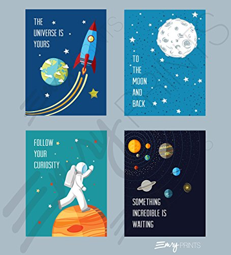 Outer Space Art Prints (Set of 4) 8x10 - Unframed - Space Kids Wall Art - Outer space decor - Kids Space Bedroom Art ()