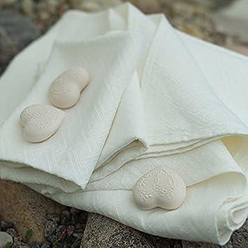 Juego de toalla de baño de lino hueso modelo Rhomb Damask: Amazon.es: Hogar