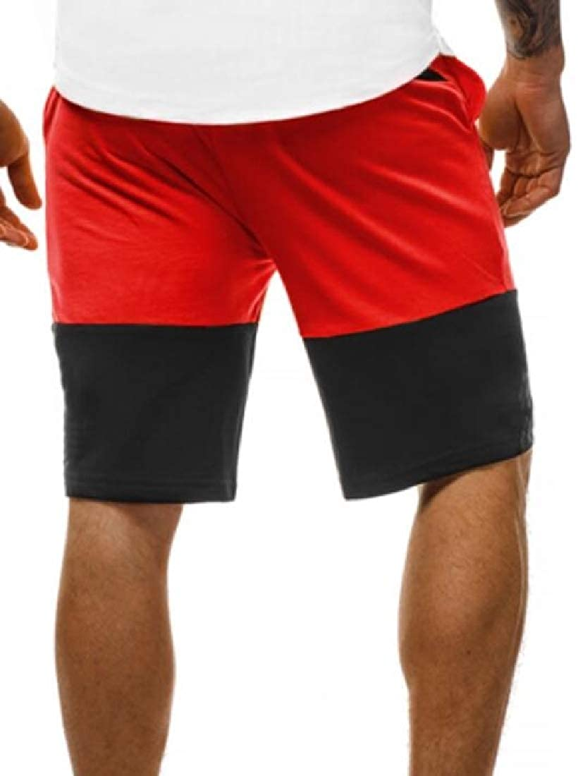 Spirio Mens Running Contrast Elastic Waist Casual Active Gym Sweatpants Shorts