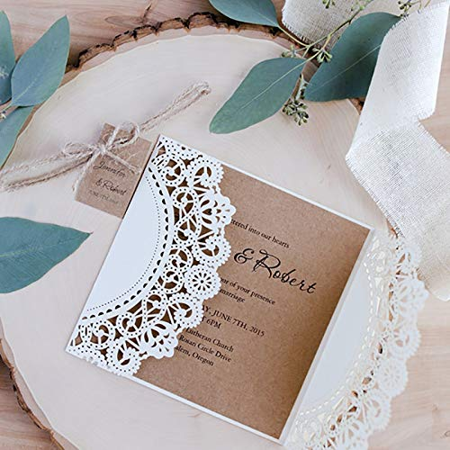 1 Pack Wholesale Design Ribbons Flower Bow Laser Cut Wedding Invitations Cards Custom Whtie west Cowboy Type Print Lace Invite from Yichener