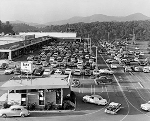 High angle view of cars parked in front of a shopping mall Westgate Shopping Center West Asheville North Carolina USA Poster Print (24 x ()