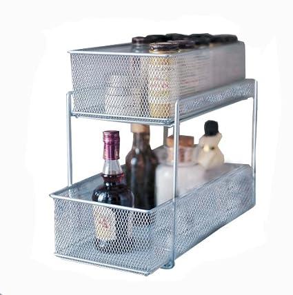 Design Ideas Cabinet Baskets Mesh Silver