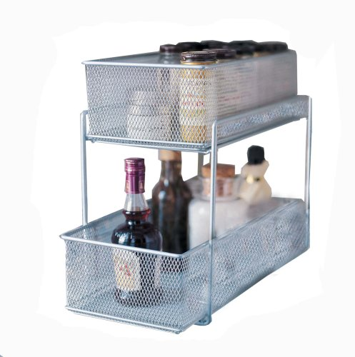 Under Sink Cabinet Baskets Mesh Silver