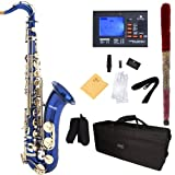 Mendini B-Flat Tenor Saxophone, Blue Lacquered and Tuner, Case - MTS-BL+92D