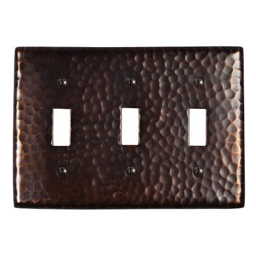 The Copper Factory CF127AN Solid Hammered Copper Triple Switch Plate, Antique Copper Finish by The Copper Factory