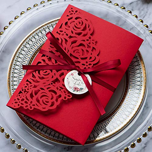Hemore 50pcs Luxury Style Wedding Cards Wedding Invitations Save The Date Postcards Decoration New Year Greeting Card Party Supplies from Hemore
