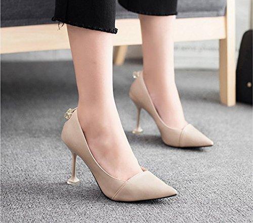 Le Femmes talons pointe 9cm chaussures hauts d'abricot l'occupation fine chat Chaussures Mode 36 Été avec Avec Ajunr de sexy Le une Loisirs PwId0xxqC
