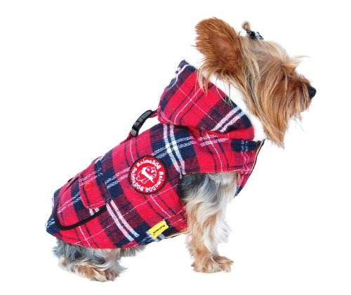 Anima Red Plaid Stuff Parka, Twill Overcoating, Snap Button Closure, Large, My Pet Supplies