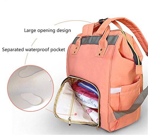 LiliChan Mochila de pañales para bebés Diseño de moda con material anti-agua Mochila de viaje multifuncional Bolsas para mamá y papá