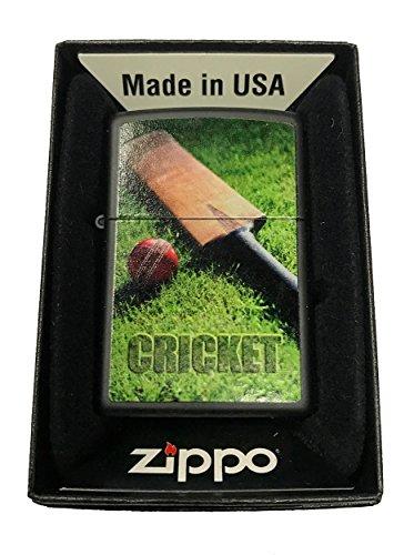 Zippo Custom Lighter - Cricket Ball & Bat Design - Black Matte by Zippo