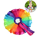 LUOEM Rainbow Tutu Skirts Costume Princess Dance Dress Ruffle Tiered Tutus Performance Dress Skirt Dress For Girls 4-8 Years Old Size L