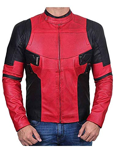 The Leja Mens Ryan Reynolds Deadpool 2 Red Leather Famous Jacket - Red - XX-Large -