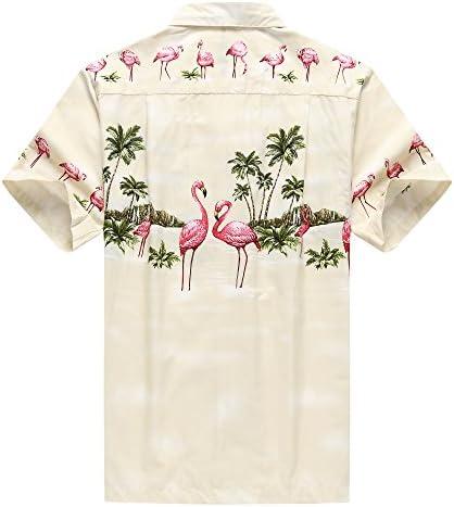 Hecho en Hawaii Camisa Hawaiana de los Hombres Camisa Hawaiana Flamencos Rosados Crema: Amazon.es: Ropa y accesorios