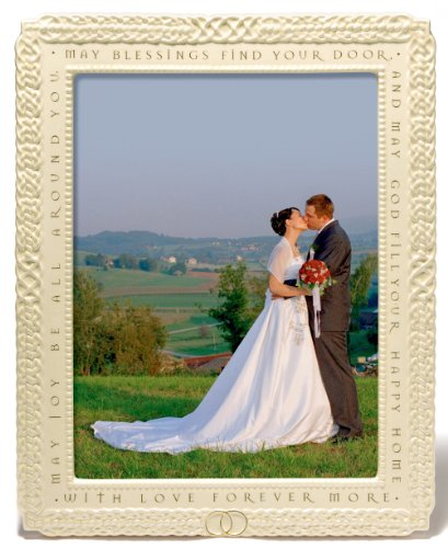 (Grasslands Road GR Celtic Ceramic Wedding Frame with Irish Blesssing, Large, White, Cream, Gold)